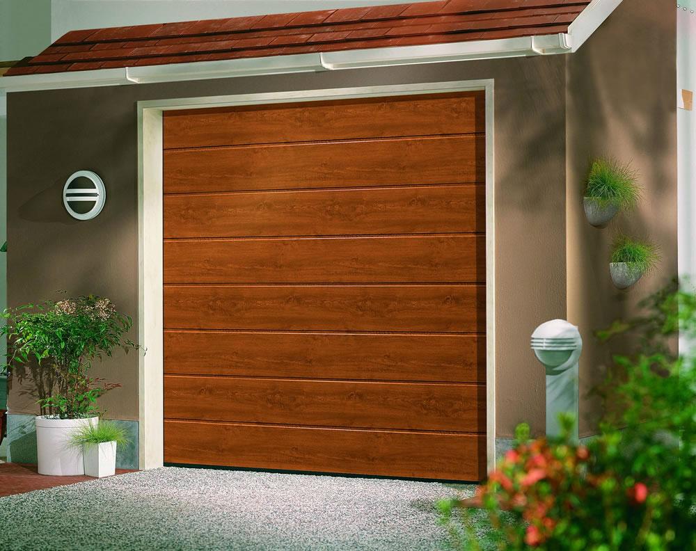 Linear Medium Golden Oak Sectional Garage Doors